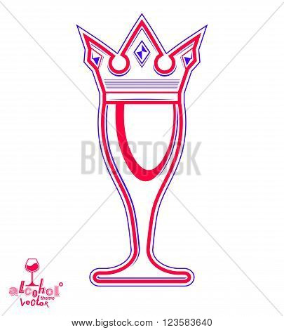 Monarch Wineglass With Decorative Crown, Royal Theme Vector Symbol Isolated On White Background. Ele