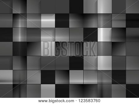 Abstract black futuristic squares background. Dark grey monochrome vector geometric squares design
