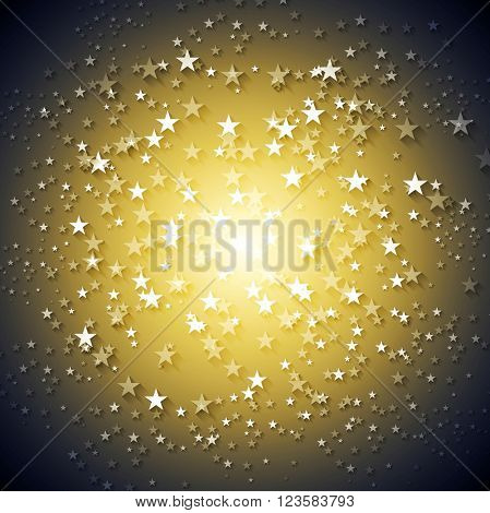 Dark yellow stars abstract vector background. Shiny bright graphic design