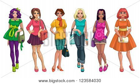 Cute cartoon fashion girls set, isolated on white background