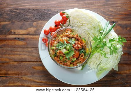 Nam prik ong Thai northern style chili paste (meat and tomato spicy dip).