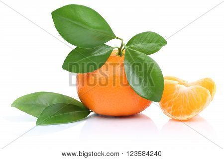 Mandarin Orange Tangerine Slices With Leaves Isolated