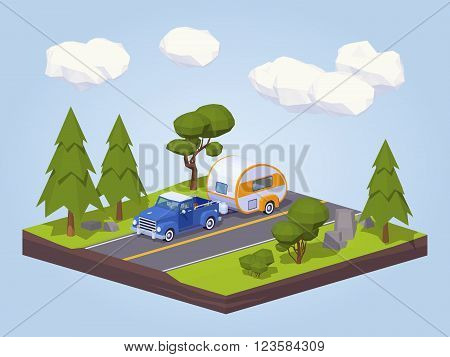Pickup truck with trailer house on the highway. 3D lowpoly isometric vector concept illustration