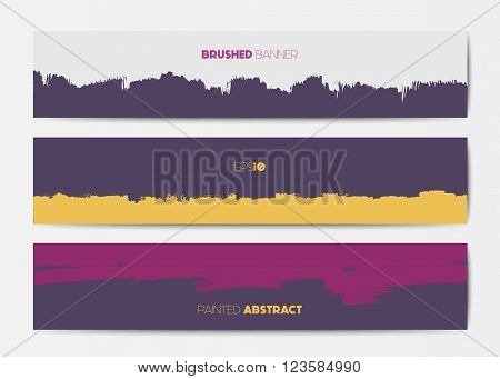 Abstract grunge banner templates, brush spots in pink and purple, web design element
