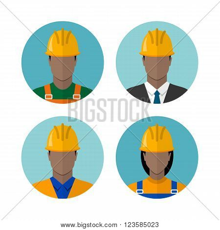 Set of builders avatars isolated on a white background. Construction workers. African american ethnic people avatars. Circle flat style icons