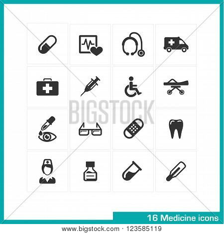 Medicine icons set. Vector black pictograms for web, internet, computer, mobile apps, interface design. medical nurse, injection, pill, medication, ambulance and tooth symbol