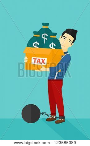 Chained man with bags full of taxes.