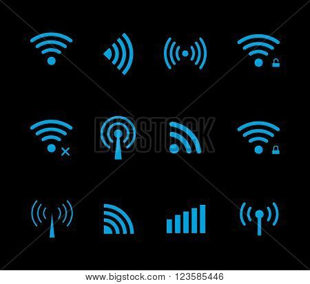Neon futuristic vector wireless and wifi icon for remote access and communication via radio waves. Wireless logo. Set of indicators. Wi-fi logo. Remote icon. Bar element internet load. Free wifi icon