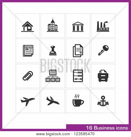 Business icon set. Vector black pictograms for web, computer and mobile apps, presentations, interface design. office building, bank, finance industry, document and cabinet symbol