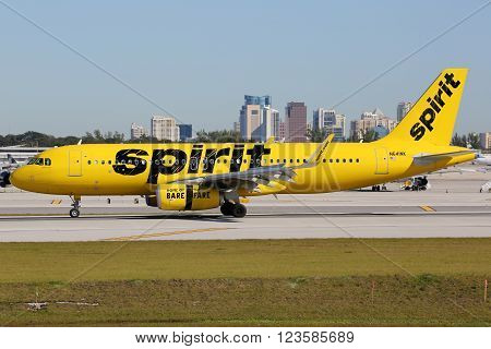 Spirit Airlines Airbus A320 Airplane Fort Lauderdale Airport