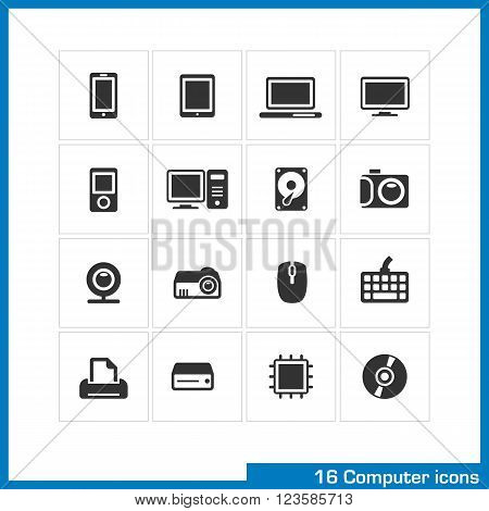 Computer icon set. Vector black pictograms for web, interface design. phone, tablet, notebook, monitor, mp3 player, PC hard drive
