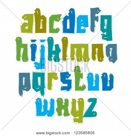 Vector colorful hand-painted letters isolated on white background stroked lowercase art script.