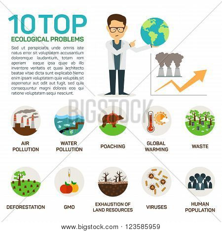 Vector illustration of top 10 ecological problems. Air and water polution, poaching, global warming, deforestation, gmo, viruses, exhaustion, human population. Eps 10