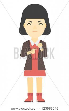 Angry boss pointing at wrist watch.