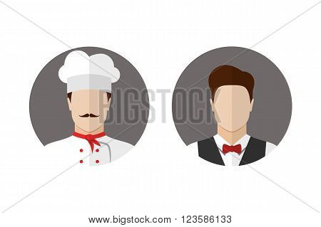 Cook and waiter avatars icons. Chef icon.  Flat style vector illustration