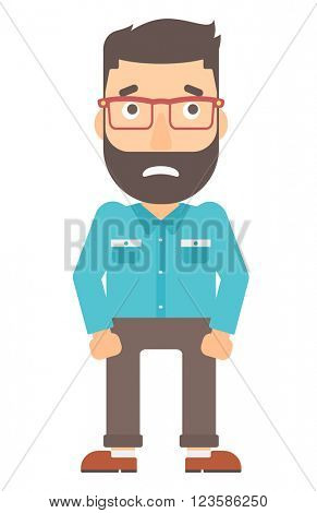 Embarrassed hipster man.
