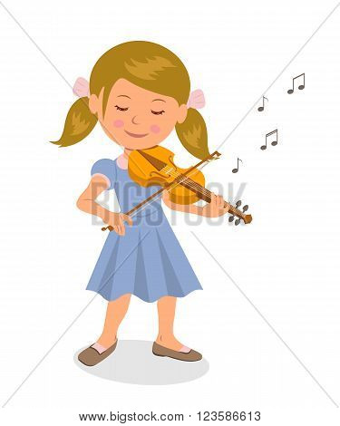 Cute girl playing the violin. Isolated character girl with a violin on a white background. Musical education.