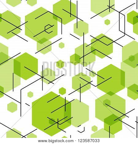 Green hexahedron seamless pattern background. Vector illustration EPS10