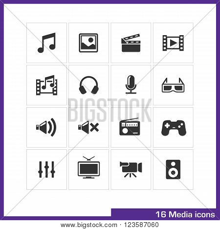Media icon set. Vector black pictograms for mobile apps, internet, interface design. music, image, movie, video, gallery, camera and loudspeakers symbol