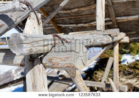 Wooden Shelter Thatched