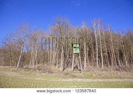 Hunting Pulpit At The Edge Of A Forest In Spring, Poland