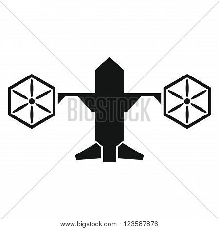 Drone vector icon in black flat style white background