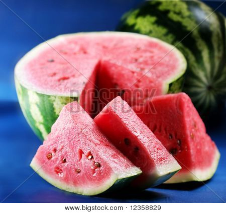Water-melon; objects on blue background