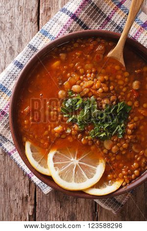Arabic Cuisine: Harira Soup In A Bowl Close-up. Vertical Top View