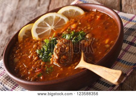 Arabic Cuisine: Harira Soup In A Bowl Close-up. Horizontal