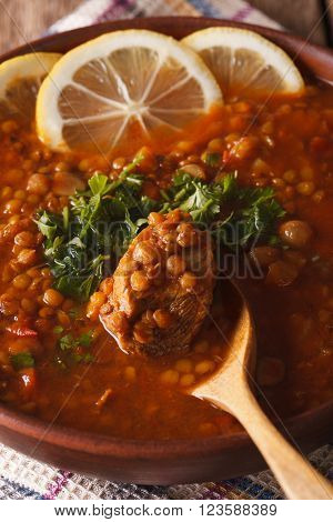 Moroccan Soup Harira In A Bowl Macro. Vertical
