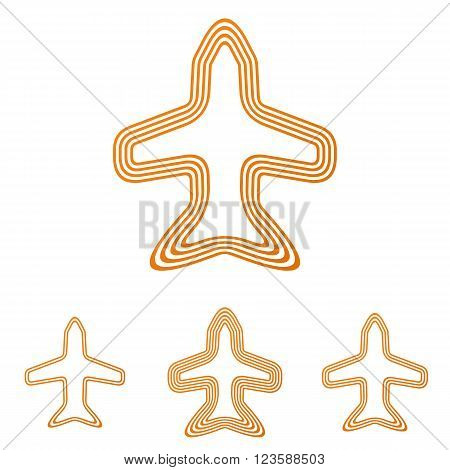 Orange line jet logo icon design set