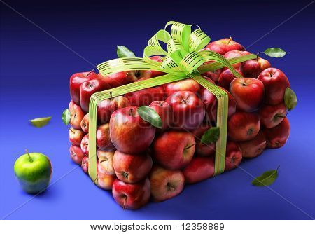 Apples; objects on blue background