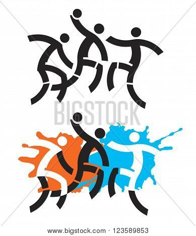 Illustration of Three stylized handball players. Vector