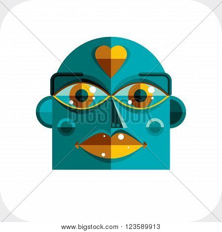 Flat Design Drawing Of A Person Face, Art Picture Made In Cubism Style. Vector Colorful Illustration