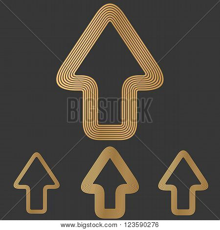 Bronze line forward arrow logo design set