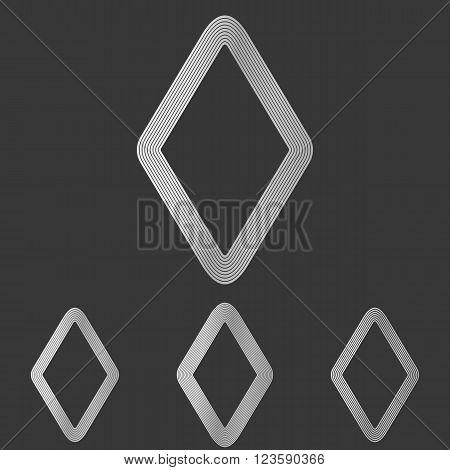 Silver line rhombus shape logo design set