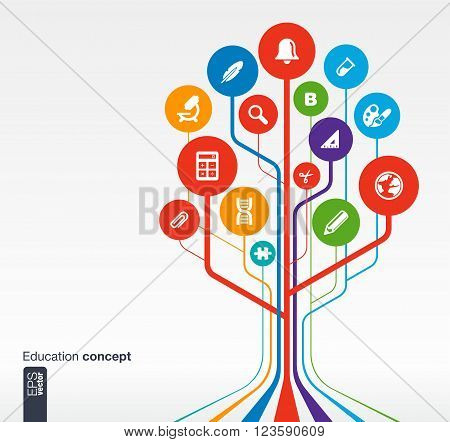 Abstract education background with lines, circles and icons. Growth tree concept with bell, school, science, calc, geography, biology, pencil and microscope icon. Vector illustration.