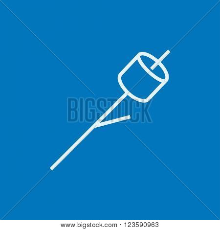 Marshmallow roasted on wooden stick line icon.