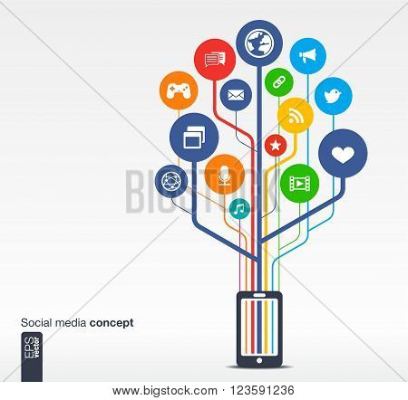 Abstract background with mobile phone, lines, circles and icons. Growth tree concept with social media, earth, network, computer, technology, mobile and speech bubble icon. Vector illustration.
