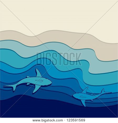 Illustration of the seabed with sharks swimming in the water near the shore