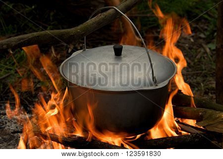 pot with a lid suspended on the stick over a campfire