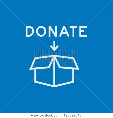 Donation box line icon.