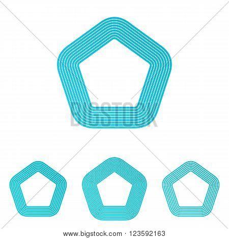 Cyan line shape pentagon logo design set