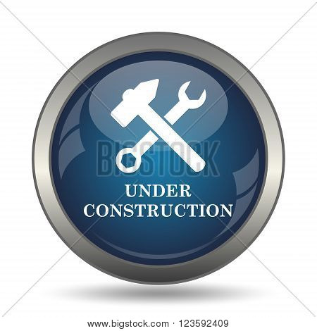 Under construction icon. Internet button on white background.