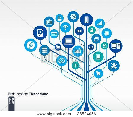 Abstract circuit technology background. Brain concept with mobile phone, network, computer technology pad and router icons. Vector infographic illustration.