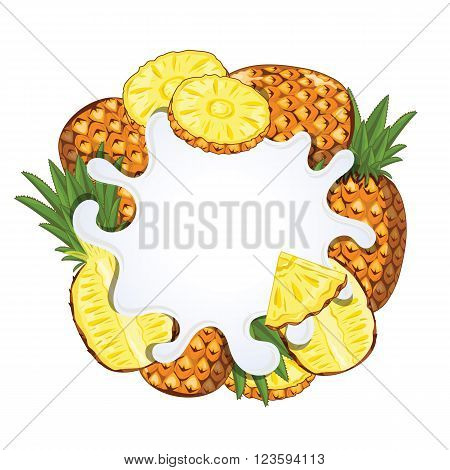 Yogurt splash isolated on pineapple. Milk splash. Pineapple yogurt. Yogurt Packaging Design Template. Vector illustration.