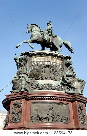 The monument to Nicholas I in St.Petersburg Russia.