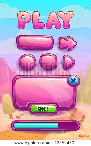 Cute cartoon game assets set, glossy buttons, panel and progress bar for GUI design on sweet landscape background