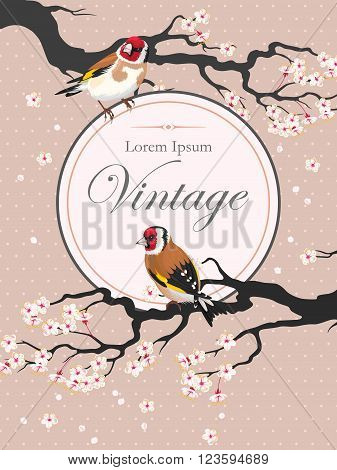 Vector vintage card with blooming cherry and goldfinch