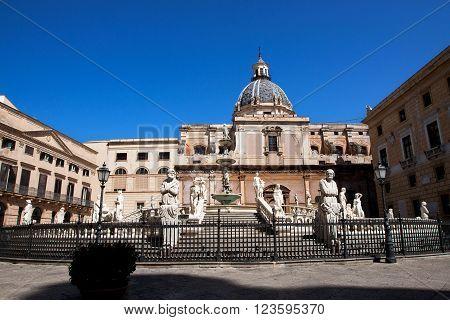 Famous Fontana Pretoria in Palermo Sicily Italy